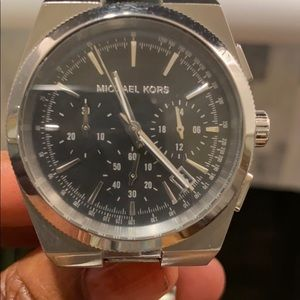 Stainless steel Michael Kors watch with black face